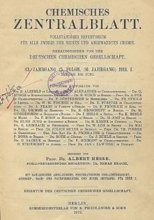 Chemisches Zentralblatt : vollständiges Repertorium für alle Zweige der reinen und angewandten Chemie, Jg. 106, Bd. 1, Nr. 19