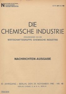 Die Chemische Industrie, 1940, Jg 63, Nr 5