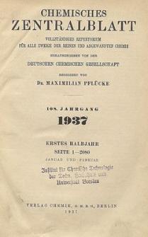 Chemisches Zentralblatt : vollständiges Repertorium für alle Zweige der reinen und angewandten Chemie, Jg. 108, Bd. 2, Nr. 1