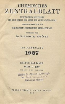 Chemisches Zentralblatt : vollständiges Repertorium für alle Zweige der reinen und angewandten Chemie, Jg. 108, Bd. 2, Nr. 14