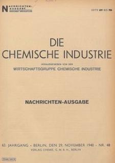 Die Chemische Industrie, 1940, Jg 63. Bericht Über Die Tätigkeit Der Technischen Aufsichtsbeamten Im Jahre 1938