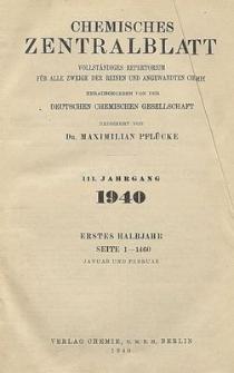 Chemisches Zentralblatt : vollständiges Repertorium für alle Zweige der reinen und angewandten Chemie, Jg. 111, Hb. 2, Nr. 19