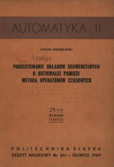 Projektowanie układów sekwencyjnych o nietrwałej pamięci metodą operatorów czasowych