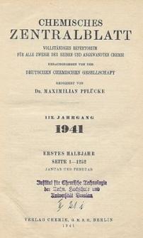 Chemisches Zentralblatt : vollständiges Repertorium für alle Zweige der reinen und angewandten Chemie, Jg. 112, Hb. 2, Nr.19
