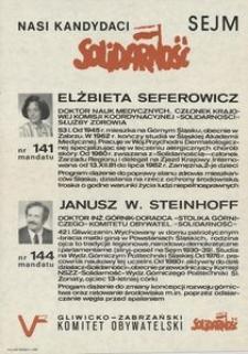 Nasi kandydaci - Sejm : Elżbieta Seferowicz, Janusz Steinhoff