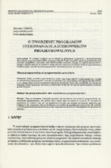 O tworzeniu programów sterowania dla sterowników programowalnych