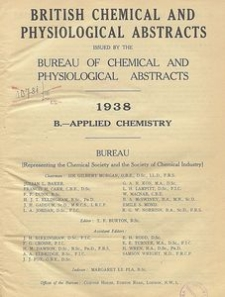 British Chemical and Physiological Abstracts. B. Applied Chemistry, Foreword