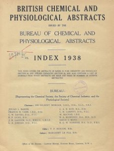British Chemical and Physiological Abstracts. Abstracts A and B. Index 1938, List of Patents Abstracted
