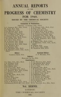 Annual Reports on the Progress of Chemistry for 1940, Vol. 37