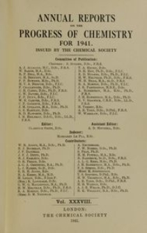 Annual Reports on the Progress of Chemistry for 1941, Vol. 38