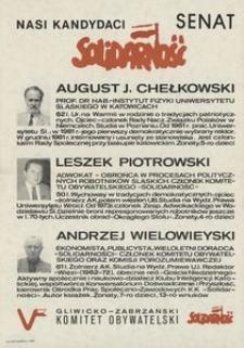 Nasi kandydaci - Senat : August J. Chełkowski, Leszek Piotrowski, Andrzej Wielowieyski