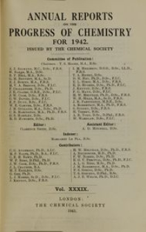 Annual Reports on the Progress of Chemistry for 1942: issued by the Chemical Society. Index of Subjects