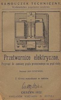 Przetwornice elektryczne : przyrządy do zamiany prądu przemiennego na prąd stały : z 12-ma rysunkami w tekście