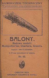 Balony : budowa modeli: Montgolfier'ów, Charles'a, Green'a : z 27-ma rysunkami w tekście