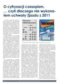 O cyfryzacji czasopism... czyli dlaczego nie wykonałem uchwały Zjazdu z 2011