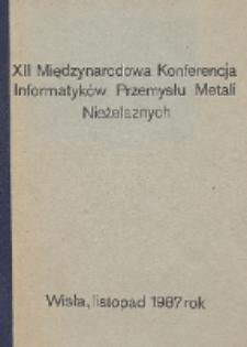 XII Międzynarodowa Konferencja Informatyków Przemysłu Metali Nieżelaznych, Wisła, listopad 1987 rok