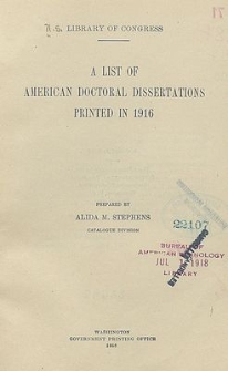 A list of american doctoral dissertations printed in 1916