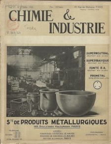 Chimie et Industrie. Vol 12. Nr 1