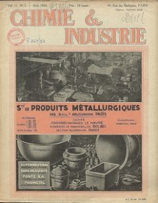 Chimie et Industrie. Vol 12. Nr 2