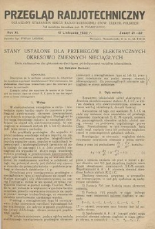 Przegląd Radjotechniczny, R. 16, Z. 19-20