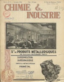 Chimie et Industrie. Vol 12. Nr 5