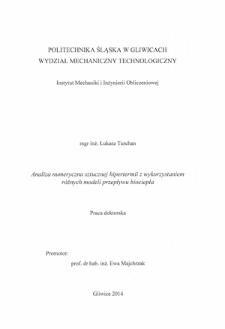 Analiza numeryczna sztucznej hipertermii z wykorzystaniem różnych modeli przepływu biociepła
