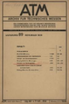 ATM. Archiv für Technisches Messen, Lfg. 89 (November)
