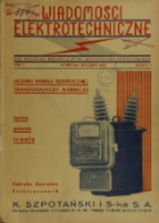 Wiadomości Elektrotechniczne, R. 1, Spis rzeczy ; skorowidz autorów