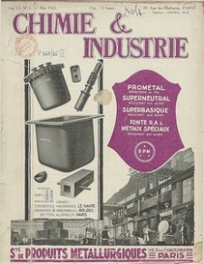 Chimie et Industrie. Vol. 13. Nr 5