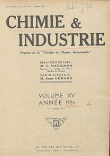Chimie et Industrie. Table analytique des matiéres. Documentation. Vol. 15