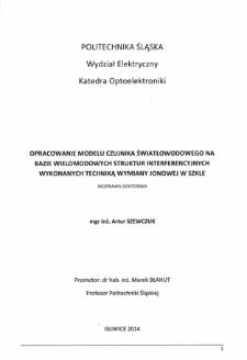 Opracowanie modelu czujnika światłowodowego na bazie wielomodowych struktur interferencyjnych wykonanych techniką wymiany jonowej w szkle