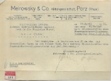 Korenspondencja firmy Meirowsky & Co. z prof. Stanisław Fryze