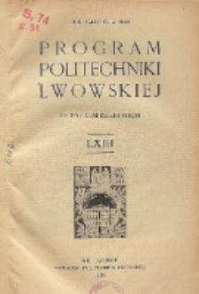 Program Politechniki Lwowskiej na rok akademicki 1935/36