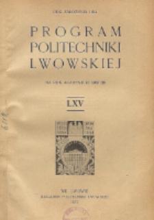 Program Politechniki Lwowskiej na rok akademicki 1937/38