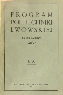 Program Politechniki Lwowskiej na rok naukowy 1924/25