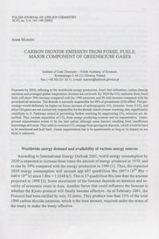 Carbon dioxide emission from fossil fuels; major componet of greenhouse gases