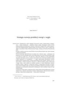 Strategia rozwoju produkcji energii z węgla