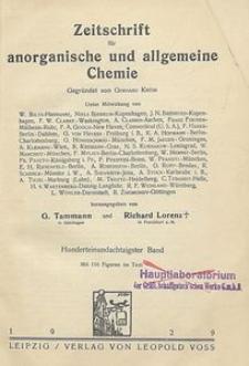 Zeitschrift für anorganische und allgemeine Chemie. Band 181. Inhalts-Verzeichnis