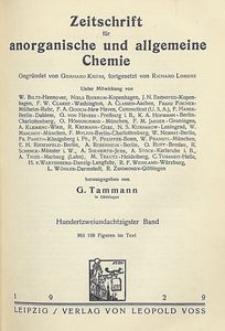 Zeitschrift für anorganische und allgemeine Chemie. Band 182. Inhalts-Verzeichnis