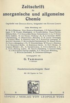 Zeitschrift für anorganische und allgemeine Chemie. Band 182. Heft 3