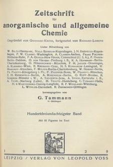 Zeitschrift für anorganische und allgemeine Chemie. Band 183. Inhalts-Verzeichnis