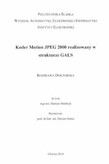 Koder Motion JPEG 2000 realizowany w strukturze GALS