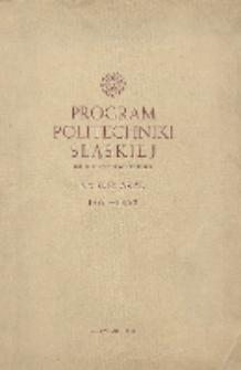 Program Politechniki Śląskiej im. Wincentego Pstrowskiego na rok akademicki 1961/62