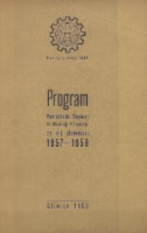 Program Politechniki Śląskiej im. Wincentego Pstrowskiego na rok akademicki 1957/58