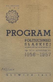 Program Politechniki Śląskiej im. Wincentego Pstrowskiego na rok akademicki 1956/57