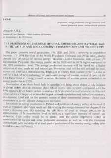 The prognosis of the role of coal, crude oil and natural gas in the world and local energy consumption and production