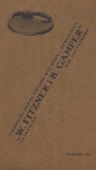 """Katalog normalnych den hydraulicznie tłoczonych używanych do Fabryki Kotłów przez Towarzystwo Akcyjne Zakładów Kotlarskich i Mechaniczych """"W. Fitzner i K. Gamper"""""""