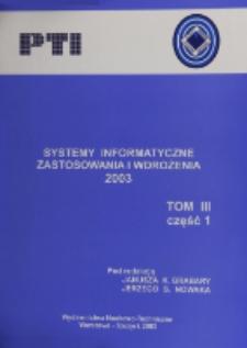 Systemy informatyczne : zastosowania i wdrożenia 2003. Cz. 1