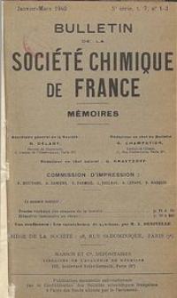 Bulletin de la Société Chimique de France. Mémoires, 5 série, T. 7, n. 1-3