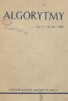Algorytmy, Vol. 3, Nr 5